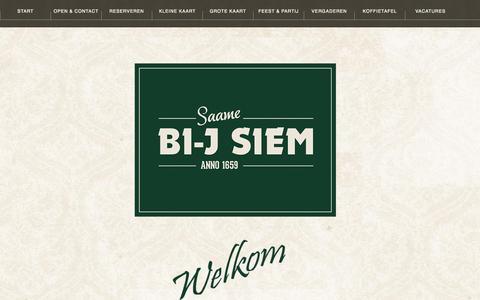 Screenshot of Menu Page bi-jsiem.nl - Restaurant Bi-j Siem -Start - captured Oct. 26, 2014