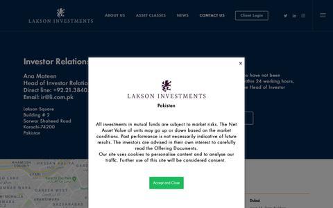Screenshot of Contact Page li.com.pk - Contact – Lakson Investments - captured Sept. 26, 2018