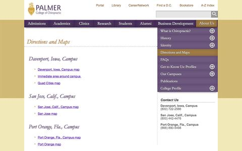 Screenshot of Maps & Directions Page palmer.edu - Directions and Maps to Palmer College Campuses | Palmer College of Chiropractic - captured Oct. 31, 2014