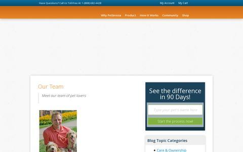 Screenshot of Team Page petbrosia.com - Our Team - captured July 19, 2014