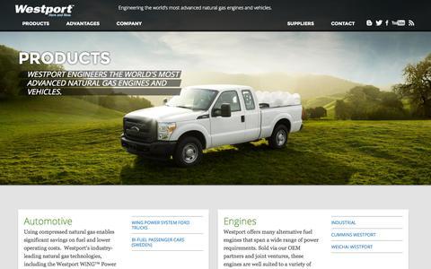 Screenshot of Products Page westport.com - Westport » Products - captured Nov. 1, 2014