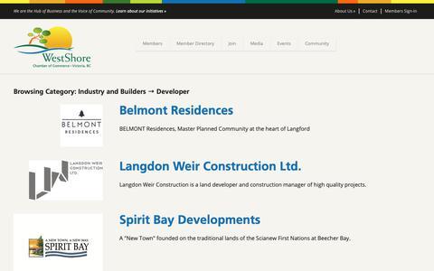 Screenshot of Developers Page westshore.bc.ca - Developer Archives - WestShore Chamber of Commerce - captured Oct. 18, 2018