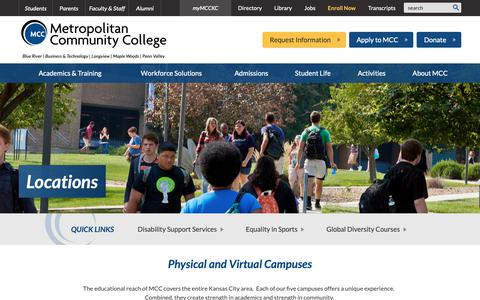 Screenshot of Locations Page mcckc.edu - Locations :: Metropolitan Community College - captured Oct. 18, 2018