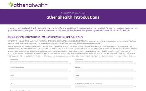 Screenshot of Landing Page athenahealth.com - athenaOne Client Online Lead Gen Agreement Form - captured April 13, 2018