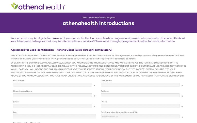 athenaOne Client Online Lead Gen Agreement Form