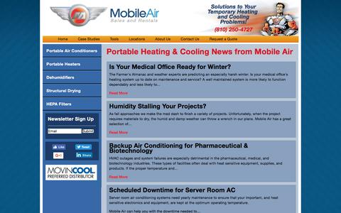 Screenshot of Press Page mobileair.com - Portable Heating & Cooling News from Mobile Air | Mobile Air - Portable Air Conditioner and Heater Rental - captured Sept. 23, 2016