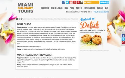 Screenshot of Jobs Page miamiculinarytours.com - Jobs - Miami Culinary Tours - captured Oct. 27, 2014