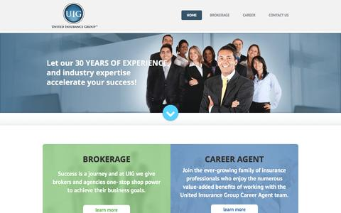 Screenshot of Home Page uiginc.com - Medigap, Life and Medicare Insurance | United Insurance Group - captured Feb. 13, 2016
