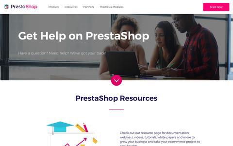 Screenshot of Support Page prestashop.com - Get Help on PrestaShop - captured June 19, 2018