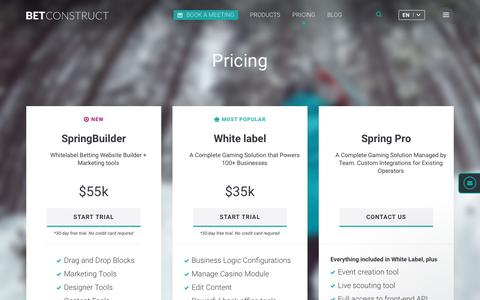 Screenshot of Pricing Page betconstruct.com - Gaming and Betting Software Pricing | BetConstruct - captured March 19, 2017