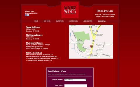 Screenshot of Contact Page salisburywines.com - Salisbury Wines - Contact Salisbury Wines - captured Sept. 30, 2014