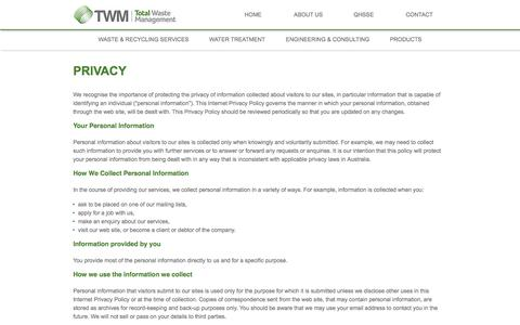 Screenshot of Privacy Page twm.com.pg - PRIVACY - captured Feb. 24, 2016