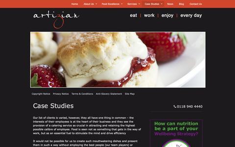 Screenshot of Case Studies Page artiziancatering.co.uk - Case Studies | Artizian Catering - captured Oct. 4, 2018