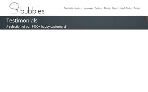 Screenshot of Developers Page Testimonials Page bubblestranslation.com - Company Testimonials - Bubbles Translation Services - captured April 13, 2018