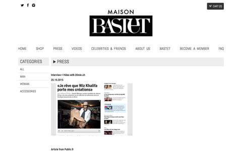 Screenshot of Press Page maisonbastet.com - Press | MAISON BASTET - captured July 20, 2016