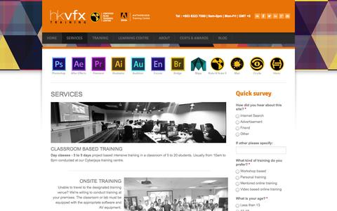 Screenshot of Services Page hussinkhan.com - visual effects training in malaysia using adobe and nuke - HKVFX | AUTHORISED VFX & ADOBE WORKSHOPS IN MALAYSIA - captured Oct. 1, 2014