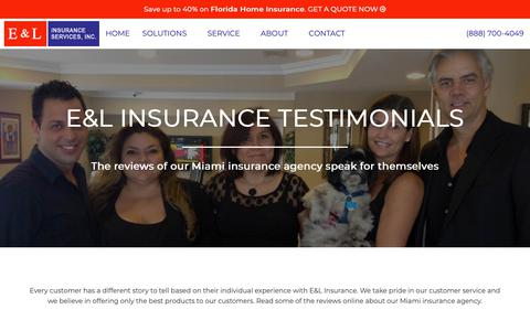 Screenshot of Testimonials Page eandlinsurance.com - Miami Insurance Agency Testimonials | (305) 541-1002 - captured Oct. 9, 2018
