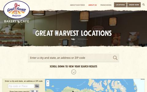 Screenshot of Locations Page greatharvest.com - Find a Bakery Cafe Near You - captured June 4, 2017
