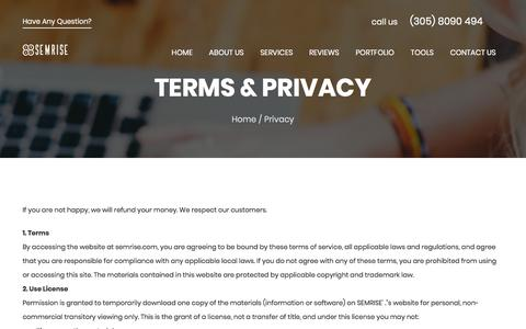 Screenshot of Privacy Page semrise.com - Terms and Privacy - captured July 25, 2018