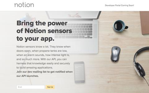 Screenshot of Developers Page getnotion.com - Developers: Home Monitoring Device & Technology API | Notion - captured March 14, 2018