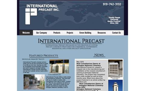 Screenshot of Home Page international-precast.com - mysite - captured Oct. 12, 2018