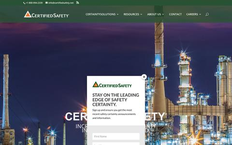Screenshot of Home Page certifiedsafety.net - Increase Safety Certainty in an Uncertain World | CertifiedSafety - captured Sept. 27, 2018