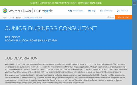 Screenshot of Jobs Page tagetik.com - Junior Business Consultant: Work with Us | CCH Tagetik - captured July 5, 2017