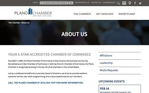 Screenshot of About Page planochamber.org - About the Plano Chamber of Commerce | Plano, Texas - captured Feb. 16, 2018