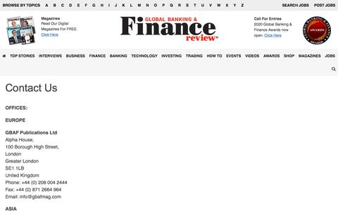 Screenshot of Contact Page globalbankingandfinance.com - Contact Us - Global Banking & Finance Review - captured Jan. 24, 2020