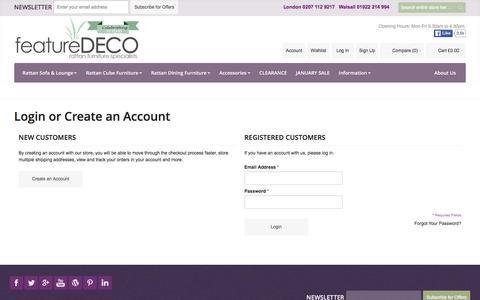 Screenshot of Signup Page Login Page featuredeco.co.uk - Customer Login - captured Jan. 8, 2016