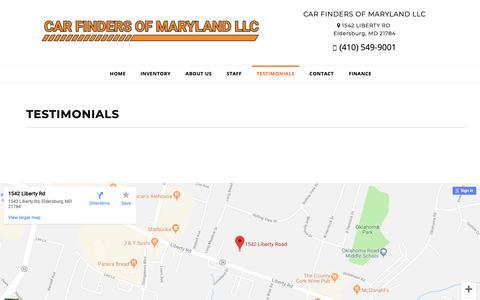 Screenshot of Testimonials Page carfindersmd.com - Customer Testimonials - CAR FINDERS OF MARYLAND LLC Eldersburg, MD - captured Sept. 27, 2018