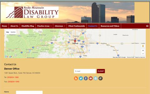 Screenshot of Contact Page rmdlg.com - Contact Us - Rocky Mountain Disability Law Group - captured Dec. 3, 2016