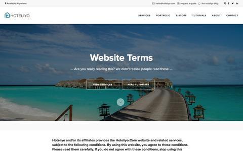 Screenshot of Terms Page hoteliyo.com - Website Terms | Hoteliyo - captured Dec. 13, 2015