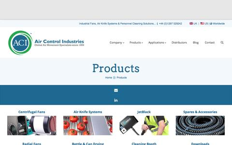 Screenshot of Products Page aircontrolindustries.com - Product Range | Air Control Industries Ltd - captured Feb. 5, 2016