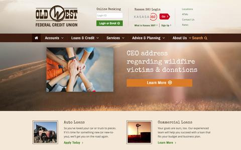 Screenshot of Home Page oldwestfcu.org - Old West FCU   John Day, OR - Baker City, OR - Prairie City, OR - captured Sept. 5, 2015