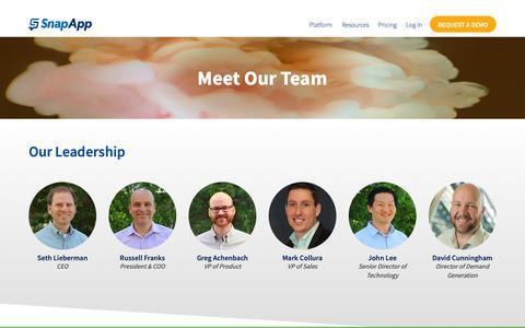 Screenshot of Team Page snapapp.com - Meet our Leadership Team   SnapApp - captured Feb. 17, 2019