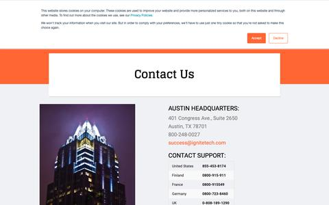 Screenshot of Contact Page ignitetech.com - Ignite Technologies :: Contact Us - captured Oct. 11, 2018