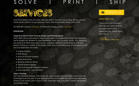 Screenshot of Services Page csi2.com - Services - CSI :: Solve | Print | Ship - captured Oct. 2, 2014