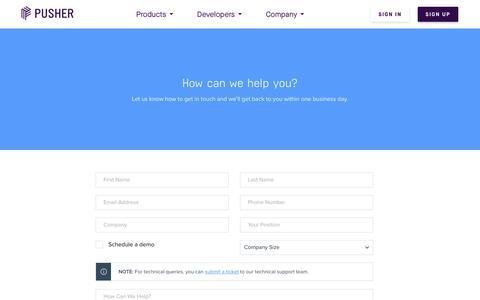 Screenshot of Contact Page pusher.com - Contact | Pusher - captured April 20, 2018