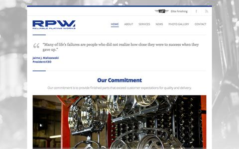 Screenshot of Home Page rpwinc.net - Reliable Plating Works   - captured Oct. 6, 2014