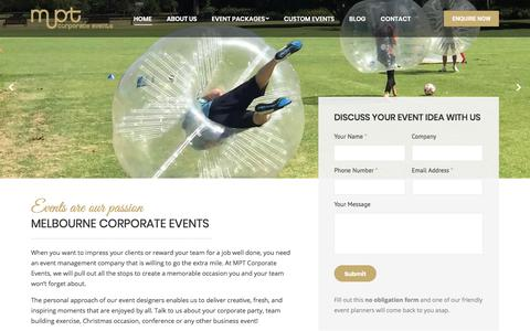 Screenshot of Home Page mptcorporateevents.com.au - MPT Corporate Events: Memorable Team Building & Company Events - captured Jan. 9, 2020