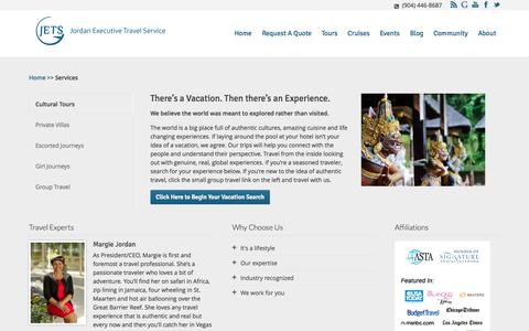 Screenshot of About Page Services Page jets-inc.com - Services - Jordan Executive Travel | Jacksonville Travel Agency - captured Oct. 23, 2014