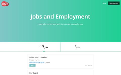 Screenshot of Jobs Page yellow.ug - Jobs and Employment - captured Oct. 5, 2017