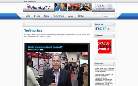 Screenshot of Testimonials Page kembytv.com - KembyTV Technology Events Conventions Interviews - Testimonials - captured Sept. 30, 2014