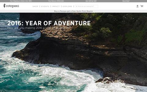 Screenshot of Home Page cotopaxi.com - Cotopaxi - Gear For Good | Free shipping on orders $99+ - captured Jan. 22, 2016