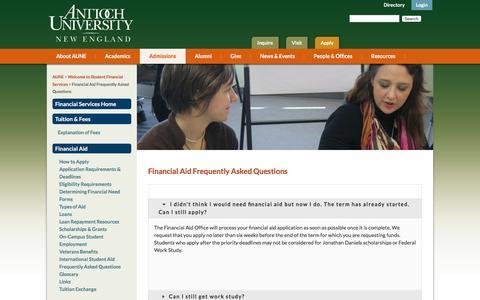 Screenshot of FAQ Page antiochne.edu - Financial Aid FAQ   Loans   Work Study   Scholarships - captured Feb. 6, 2016