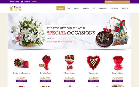 Screenshot of Home Page mumbaiflora.in - Send Flowers Delivery in Mumbai, Online Mumbai Florist,Send Cake to Mumbai, Order Chocolate Gifts, - captured Feb. 17, 2016