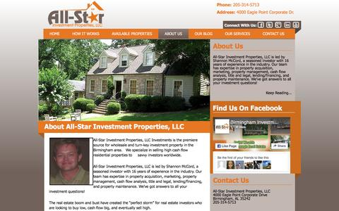 Screenshot of About Page birminghaminvestmentrealestate.com - All-Star Investment Properties, LLC|Investment Properties| Homes for Sale in Birmingham AL | Rental Property | Rental Houses | Investment PropertyBirmingham Investment Real Estate - captured Nov. 20, 2016