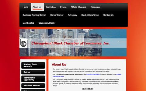 Screenshot of About Page chicagolandbcc.org - About Us - Chicagoland Black Chamber of Commerce, Inc - captured Oct. 2, 2014