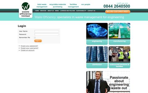Screenshot of Login Page wasteefficiency.co.uk - Login | Waste Efficiency – specialists in waste management for engineering - captured Oct. 7, 2014